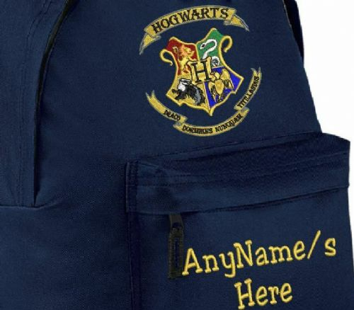 HARRY POTTER HOGWARTS DESIGN RUCKSACK/BACKPACK WITH ANY NAME EMBROIDERED